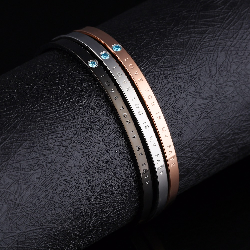 American and European fashion simple men and women's bracelet with titanium iron in zircon bracelet GH856
