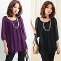 Moda blusas de verano más tamaño negro púrpura blusa de gasa manga farol o-cuello de las mujeres tops blusas feminina camisa de grasa