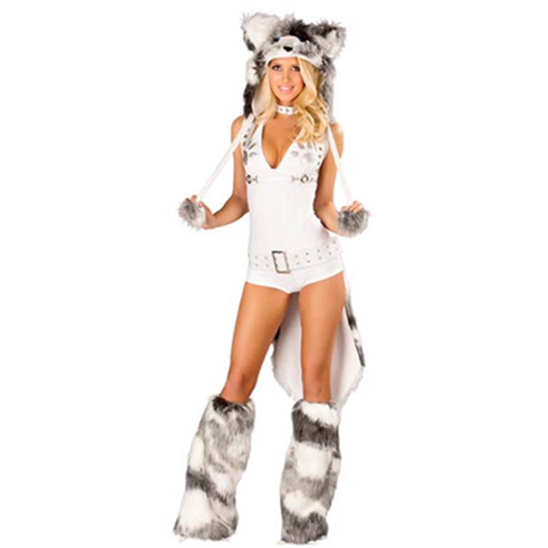 Fantasy Party Tie back Romper Husky Costume Hood Claw Legwarmers Adult Husky Costume Deluxe Sexy ...