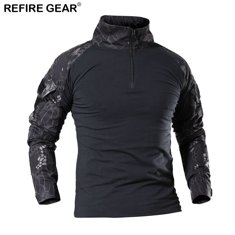 Refire Gear Outdoor Camo T shirt Men Long Sleeve Breathable Fishing Hiking Camping Shirt Camping Hunting Tactical Shirt 4 Colors in Hiking T shirts from Sports Entertainment