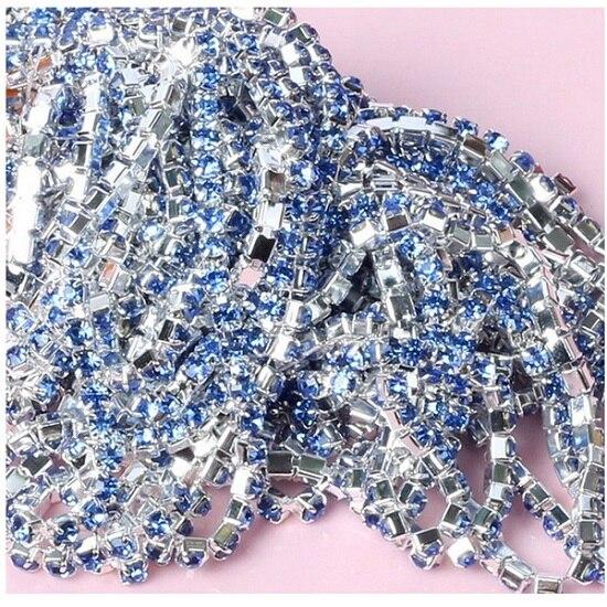 1 м/лот пришитые хрустальные стразы на цепочке SS6 SS8 SS10 SS12 Серебряная основа плотная коготь стеклянная отделка горного хрусталя DIY аксессуары - Цвет: Light Blue