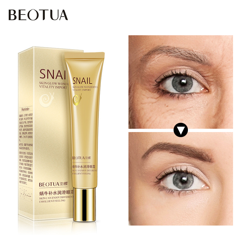 BEOTUA Snail Eye Essence Remove Dark Circle Cream Moisturizing Hyaluronic Acid Eye Cream Anti-Aging Puffiness Serum Skin Care lacquered shell goegtu peony style protective abs back case for iphone 4
