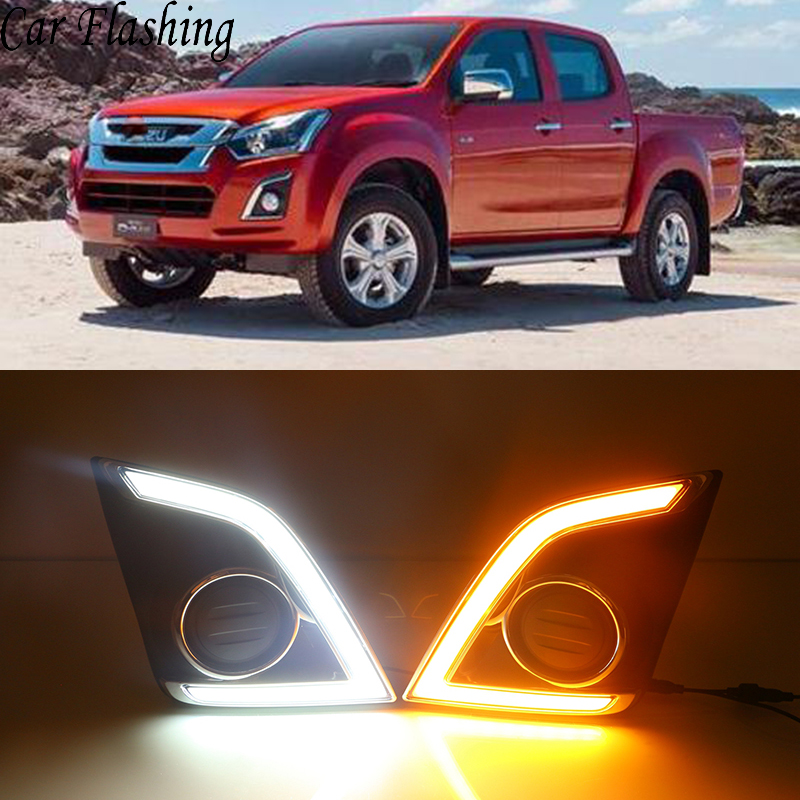 Car Flashing 1Pair DRL For Isuzu D max Dmax 2016 2017 LED Daytime Running Lights LED