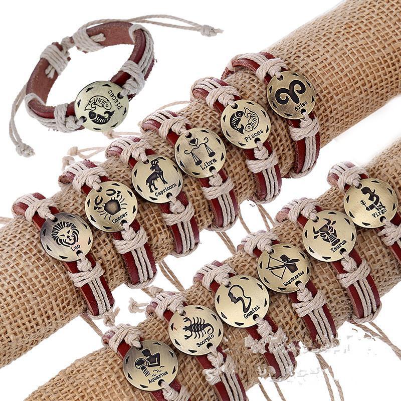 Women Jewelry Constellations Leather Bracelets Men Bracelet Femme Pulseira Masculina Ancora Braslets Indian Jewelry for Gift