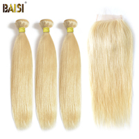 BAISI 3 Bundles with Closure 100% Human Hair Extension Peruvian Virgin Hair Straight,12 26inch Blonde #613 Color, Free Shipping