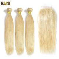 BAISI 3 Bundles with Closure 100% Human Hair Extension Peruvian Virgin Hair Straight,12 26inch Blonde #613 Color, Free Shipping
