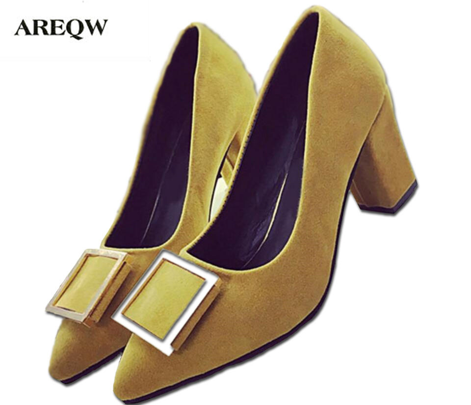 AREQW Ladies Pumps Spring Sexy high heels Shallow Mouth Thick Suede Buckle Shoes Female Office Lady Shoes Square woman shoes spring summer sexy nightclub shallow mouth thin high heels pu leather buckle square toe pumps shoes fashion elegant silver pumps