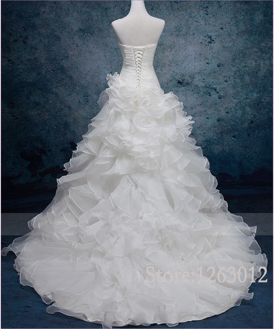 Hot Sale In Stock Sweetheart Neckline Ruched Bodice Ruffled Organza Reals Chapel Train Wedding Dresses vestidos de novia 3