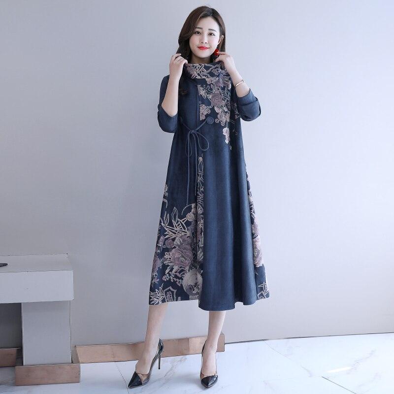 Automne hiver femmes Robe Vintage col roulé à manches longues Floral imprimé dames décontracté lâche Robe robes robes grande taille 5XL - 4