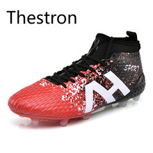Original New Arrival 2017 Men Cleats Football Shoes Massage Non-slip Soccer Shoes High Ankle Football Boots Trainers Cheap