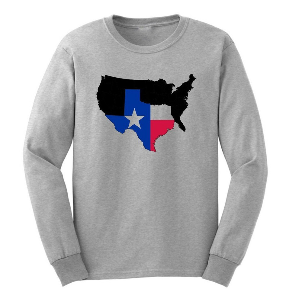 Mens State Pride Texas Home Map Long Sleeve Adult T-Shirts Casual Men Tee