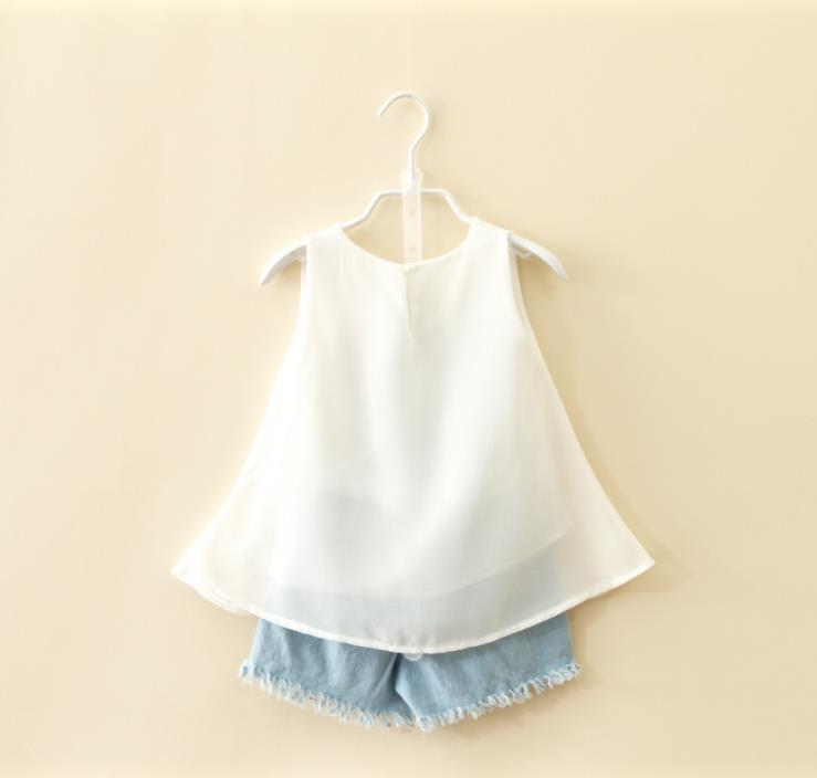 2018 Summer Sets Chiffon Vest Shorts Two piece Toddler Girl Clothing Sets Children Fashion Girls Clothes Suit Baby Tracksuit in Clothing Sets from Mother Kids