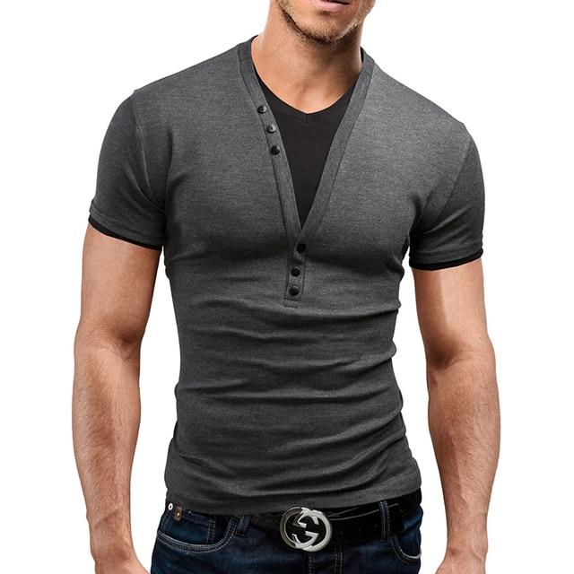 271b71f7eca5 Summer Style 2016 Men T Shirt Short Fitness Tee Shirts Casual T Shirt Tops    Tees Button Design Mens Clothing 13M0587