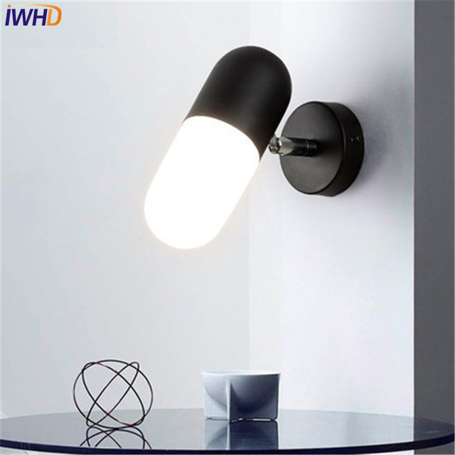 IWHD Simple Modern Wall Sconce Creative Glass LED Wall Light Fixtures For Adjustable Bedside Wall Lamp Home Indoor Lighting
