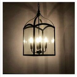 110v 220v Loft Vintage hanglamp oprawy 4 * E14 szkło i żelazne lampy wiszące  Edison vintage oświetlenie przemysłowe darmowawysyłka