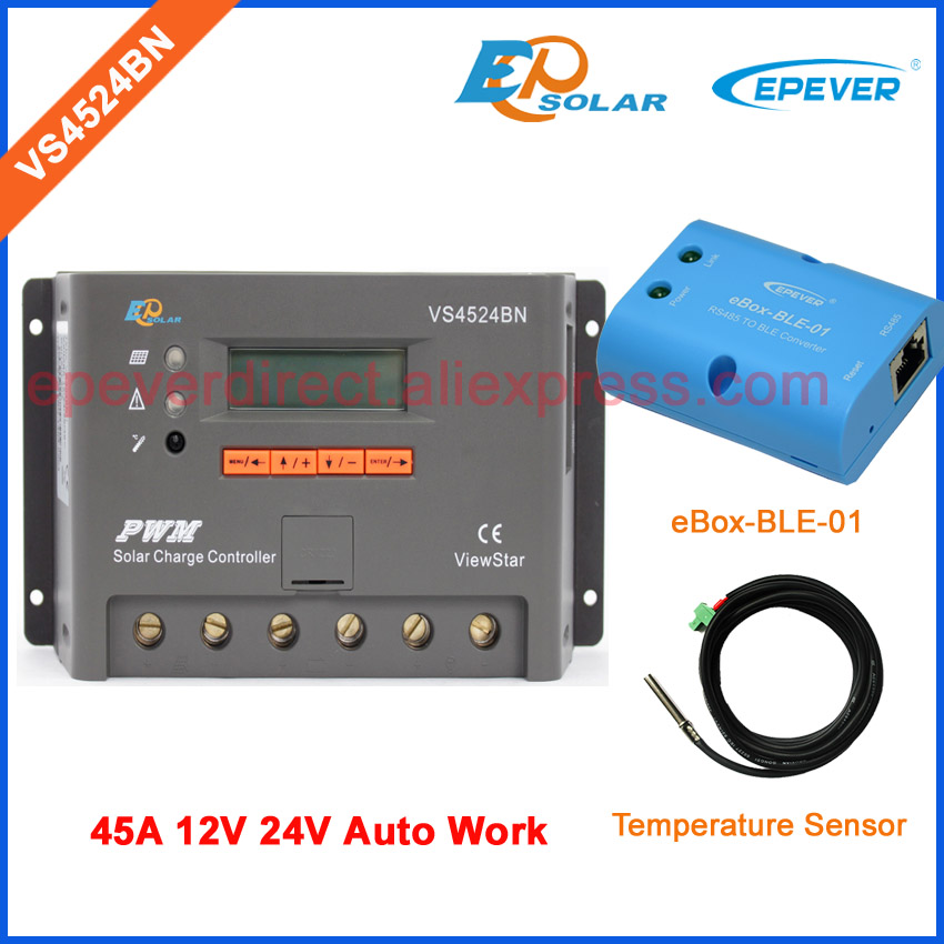 24V 12V solar panel system solar battery charger regulator PWM VS4524BN 45A temp sensor cable and bluetooth function wireless