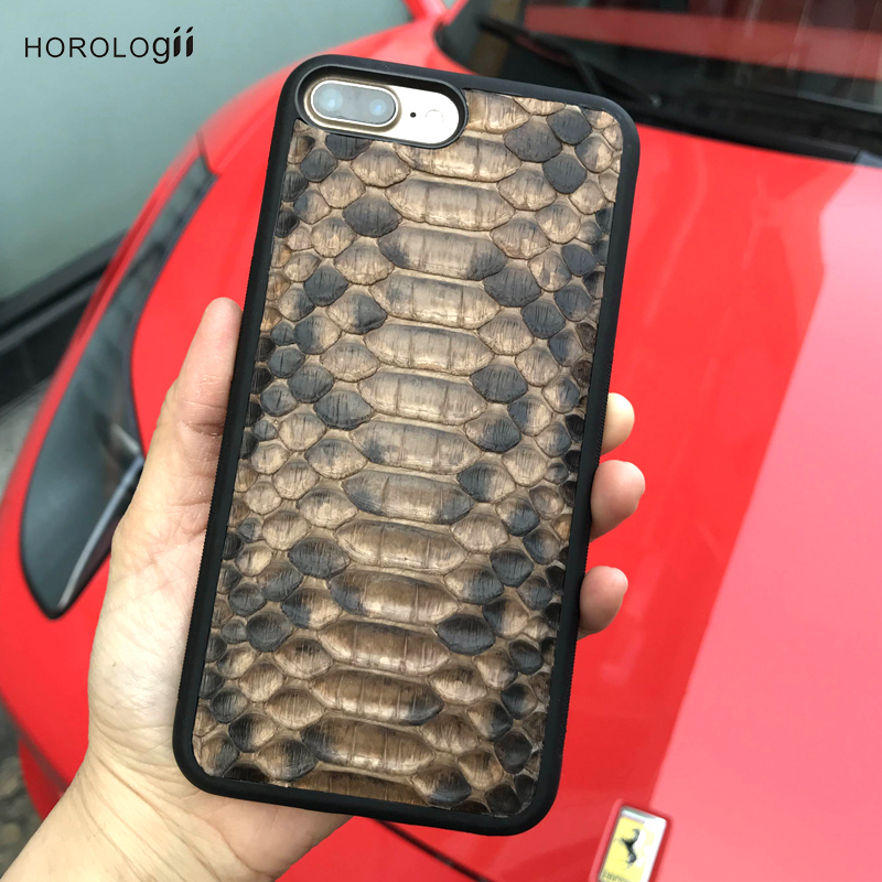 Horologii New Design Snake Skin leather for iphone 7 plus X Xr Xs Max luxury mobile phone accessories custom name service