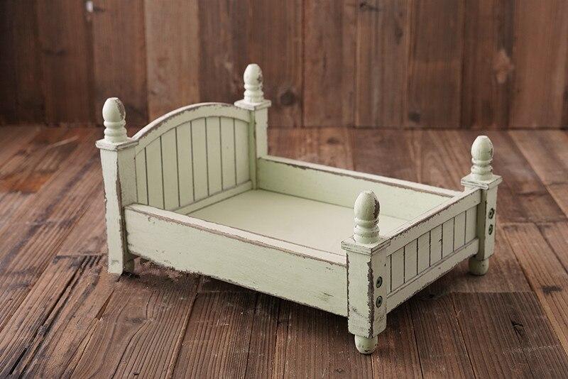Petit lit en bois design original coloré en option lit bébé pliable et amovible lit nouveau-né photographie accessoires - 5
