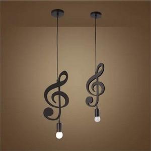 Image 3 - Feiemfeiyou A Z words Music character e27 Creative Black Led Pendant Lamp for Bar bedroom bookroom Pendant Lighting
