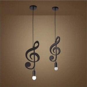 Image 3 - Feimfeiyou A Z słowa postać muzyczna e27 kreatywny czarny wisiorek Led lampa dla Bar sypialnia bookroom lampa wisząca