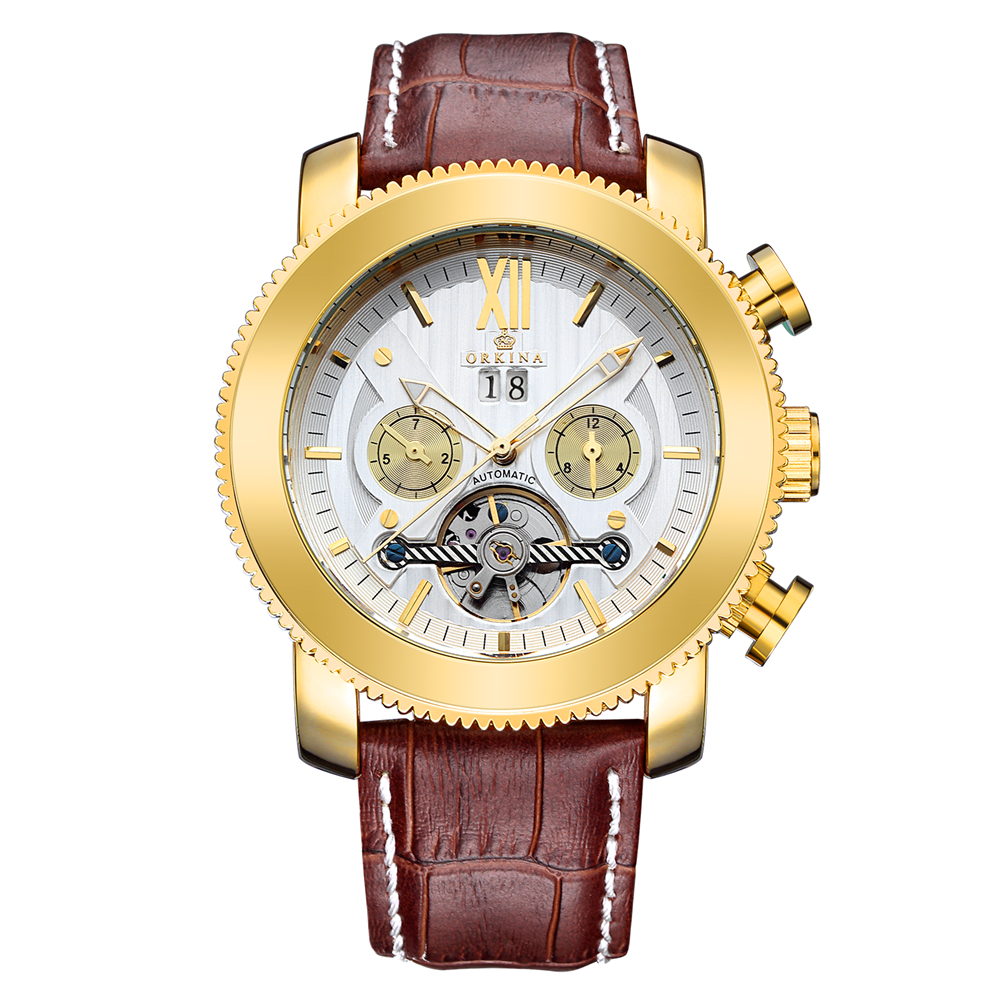 ORKINA 2017 Skeleton Tourbillon Mechanical Watch Automatic Men Classic Rose Gold Leather Mechanical Wrist Watches Reloj Hombre orkina male watches skeleton auto mechanical men wrist watch mesh band heren uhr automatic wristwatches