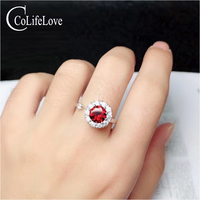 CoLife Jewelry 100% Natural Wine Red Garnet Silver Ring for Young Girl 5mm Garnet Ring 925 Silver Garnet Jewelry