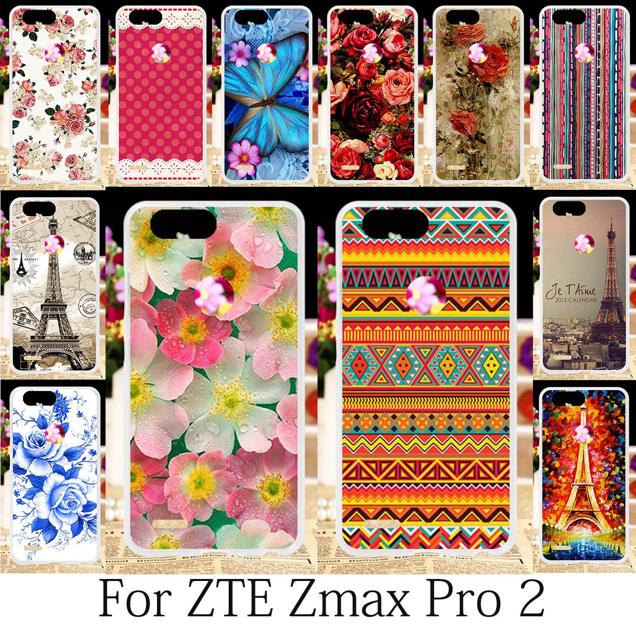 TAOYUNXI For Case ZTE Blade Z MAX Z982 Case ZTE Sequoia ZTE Zmax Pro 2  Cover Oil Painting Roses Funda Eiffel Tower Coque 6 0inch-in Fitted Cases  from