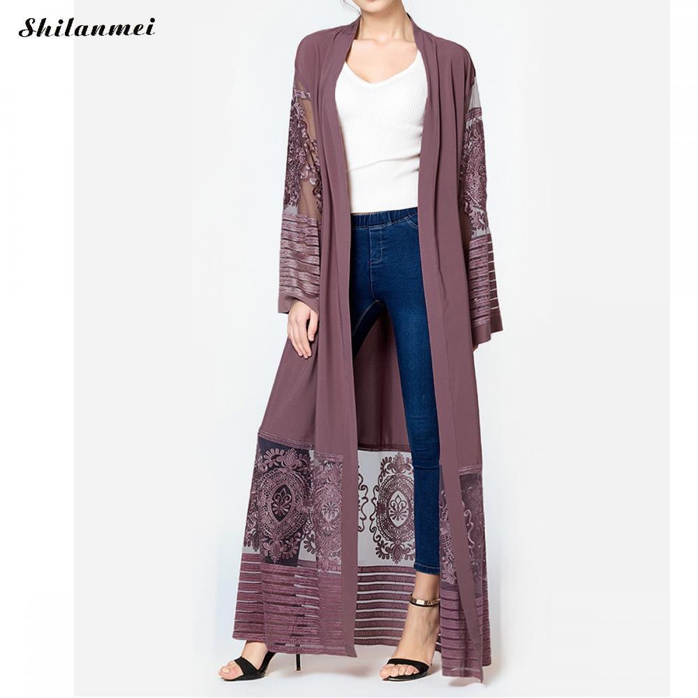 2018 nuevo Oriente Medio musulmanes moda Abaya Maxi vestido bordado ...