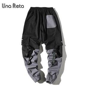 Image 5 - Una Reta Man Pants New Fashion Streetwear Stitching Color Joggers Hip Hop Long Pants Men Elastic Waist Cargo Pants Men