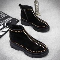 2018 new leather flat bottom boots short plus velvet Martin boots female British wind women's boots.