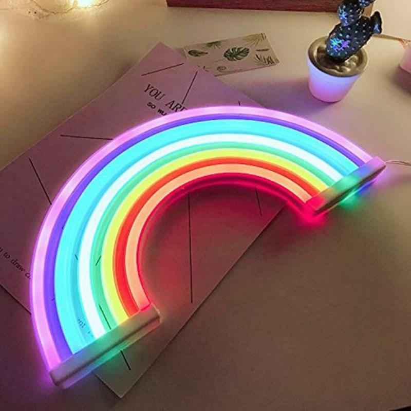 Lindo arco iris de neón LED de luz Arco Iris/lámpara para dormitorio decoración arco iris de neón lámparas decoración de la pared para dormitorio de niñas de Navidad