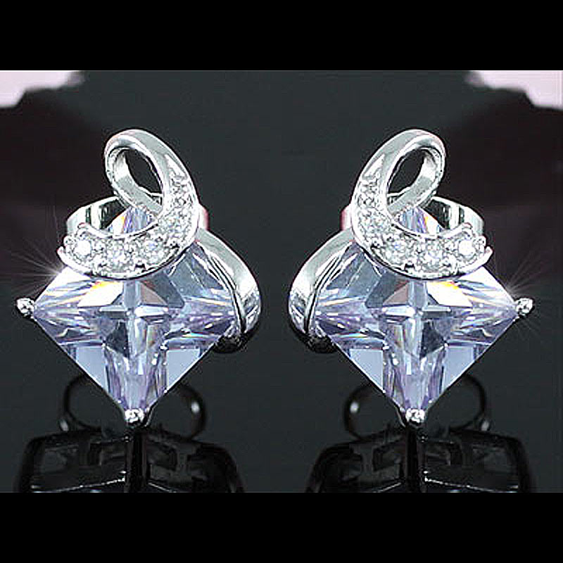 Peacock Star 2 Carat Purple, Beige, Pink, Clear White Princess Cut Cubic Zirconia Stud Earrings CSE252