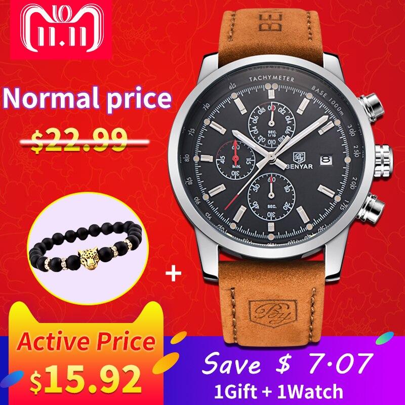 2017 BENYAR Relógios Homens Marca De Luxo Relógio de Quartzo Da Forma Do Esporte Do Cronógrafo Relógio Masculino horas relogio masculino Reloj Hombre