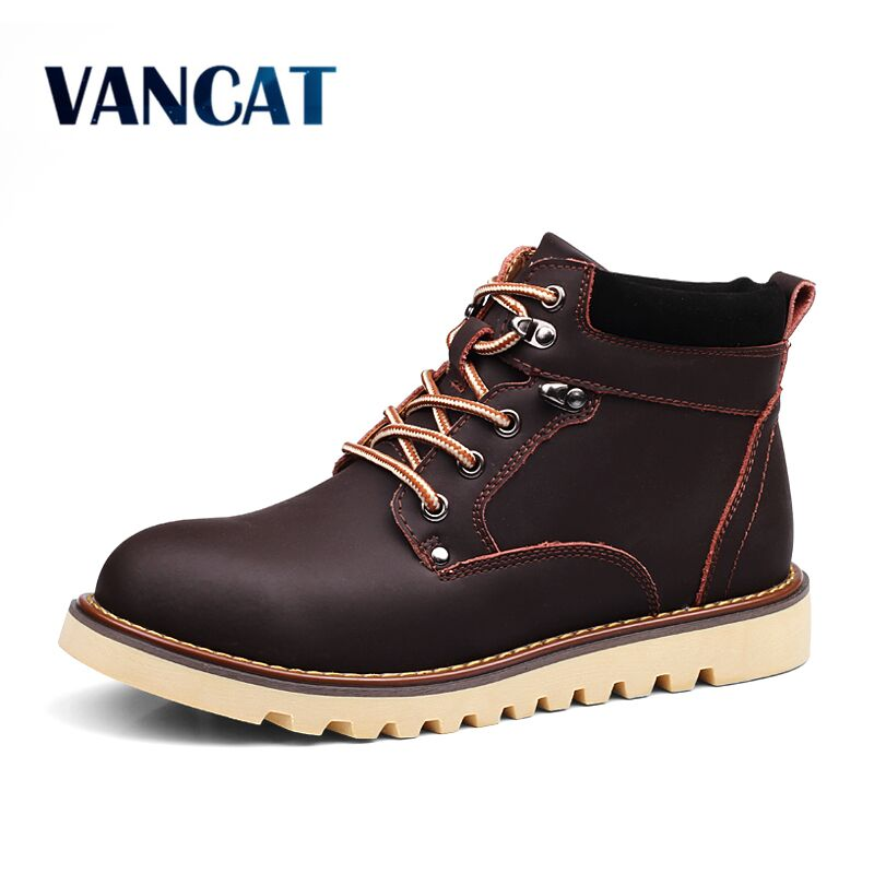 Vancat Brand Warm Winter Men Boots High Quality Cow Split Leather Casual Boots Men Waterproof Work Tooling Casual Ankle Boots