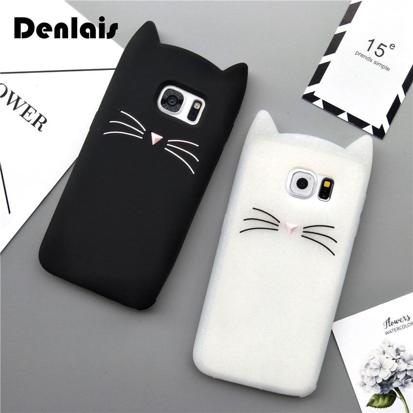 Cute korea cartoon case black white cat soft silicone for Housse samsung galaxy s5