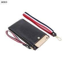 цена AOEO Genuine Leather Phone Wallets Women Zipper Long Ladies Purse Card Holder Girls Clutches Wristlet Cowhide Slim Wallet Female в интернет-магазинах