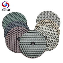 RIJILEI 10Pcs/Set 5inch Dry polishing pad 125mm Resin Diamond Grinding Disk Marble Granite Polishing Tool Abrasive HC04
