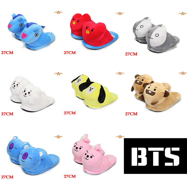 90ef2fde90b7 OHCOMICS KPOP Bangtan Boys BTS BT21 TATA COOKY CHIMMY KOYA RJ VAN SHOOKY  Cotton Slippers Shoes Plush Shoes Hyoma Costume Shoes