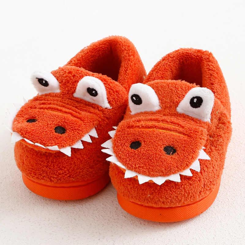 ילדי כותנה חורף חם שינה נעלי ילדים פרווה קטיפה מקורה בית תינוק בנות פעוטות בני Cartoon דינוזאור החלקה נעלי בית