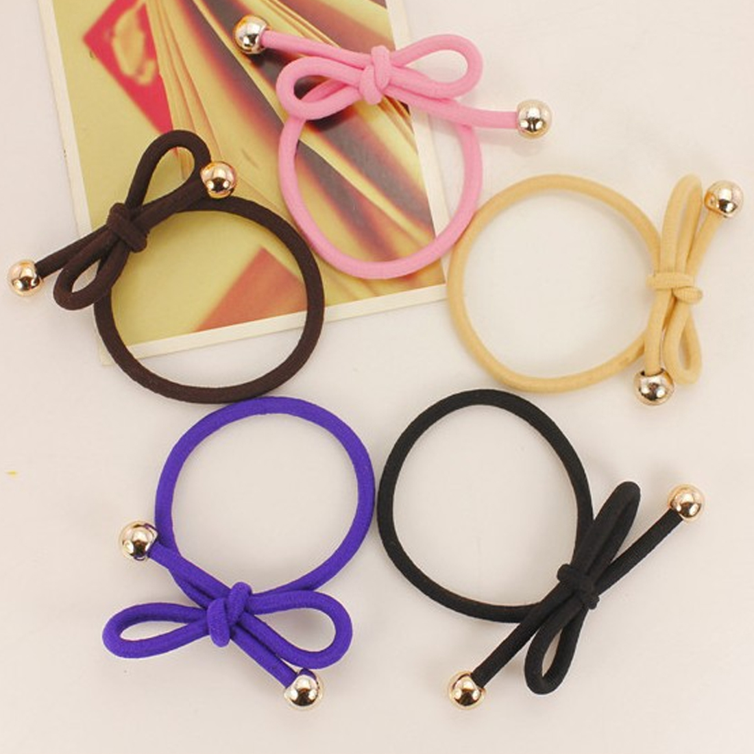 10pcs lot Girls Elastic Hair Band Bowknot Gold Plated Beads Gum Scrunchy Rubber Band Headwear Hair Accessories for Women in Women 39 s Hair Accessories from Apparel Accessories