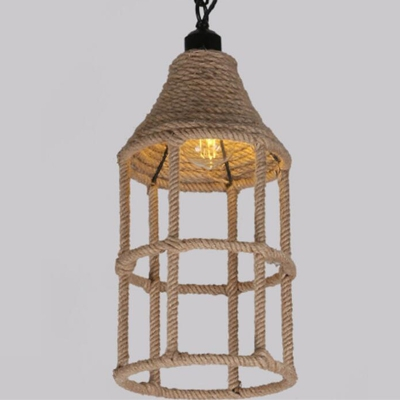 E27 / E26 Base Nordic Hemp Rope Twine Retro Antique Dangling Lamp Vintage Pendant Light Fixtures