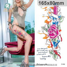 Individuality Waterproof Temporary Tattoos For Men And Women Skull Flower Sword Design Large Arm Tattoo Sticker FC2509