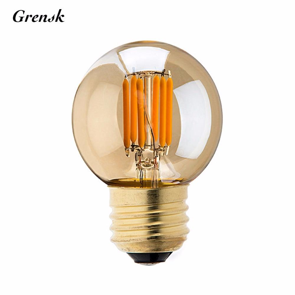 Gold Tint,3W,G40 Globe Lamp,Vintage LED Filament Light Bulb,Super warm 2200K,E26 E27 Base,Decorative Lighting,Dimmable