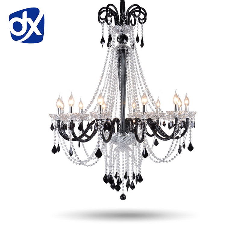 Black K9 Crystal Chandelier Lustre Crystal Chandeliers Light Lustres De Cristal Chandelier LED Villa Black Lamp Living Room 15 heads gold candle led fixture crystal hanging chandelier lighting hotel villa chandeliers living room k9 clear cristal lustre