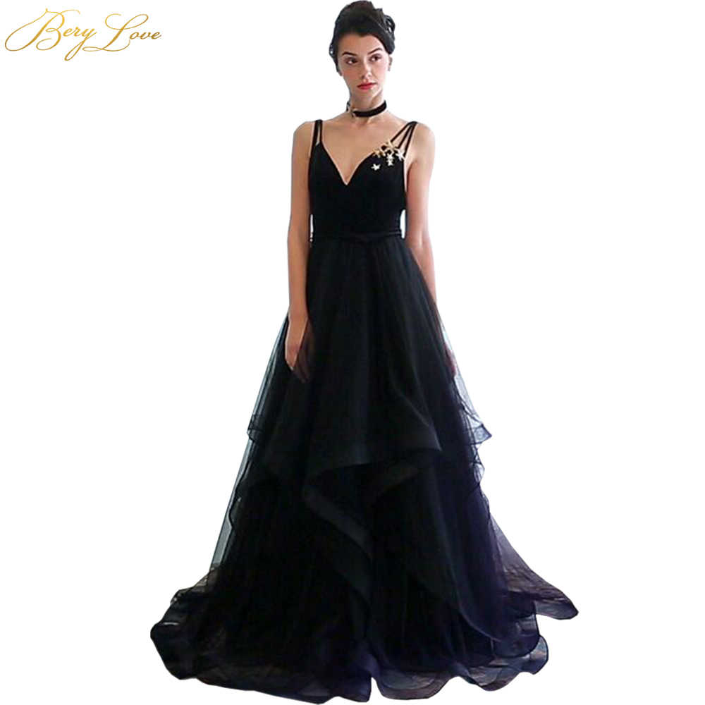 95c99395e6 BeryLove Long Black Prom Dress 2019 V Neck Spaghetti Straps Backless Ruffle  Tulle Formal Evening Dress Women Party Dress Gown