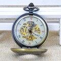 Bronze Mechanical Hand Wind Skeleton Pocket Watch Hollow Roman Numerals Skeleton Gears Pocket Watch Men Women Chain Gift M026