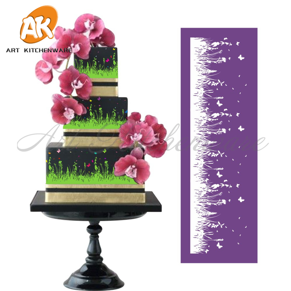 New Grassland Mesh Stencil Lace Cake Stencil DIY Cake Decorating Tools Գործվածքների Տորթ ստենլիլներ տորթի բորբոսով Fondant Mould-MST-08
