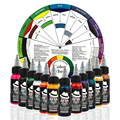 OPHIR 12 Color Airbrush Tattoo Inks with Color Wheel 30ML/Bottle Body Art Paint Colors for Temporary Tattoo Pigment_TA053+AC128