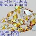 Frete grátis 5x10mm 5000 pcs acrílico natator marquise apontou cores AB cola strass acrílico sobre contas decorar DIY
