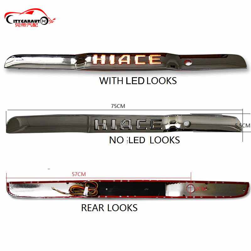 REAR LED LICENSE PLATE BRAKE LIGHTS DAYTIME LIGHTTING FIT FOR TOYOTA HIACE 2016+ CAR REAR LICENSE PLATE COVER CAR STYLING